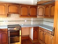 Full fitted kitchen with intergrated hotpoint fridge freezer