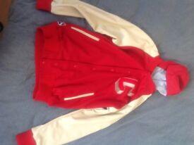 Men's Baseball Varsity Jacket with Detachable Hoodie
