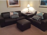 Maskreys 3 and 2 seater Italian leather settees with footstool