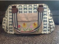 Pink Lining Navy Blue Bows Blooming Gorgeous Baby Changing Bag