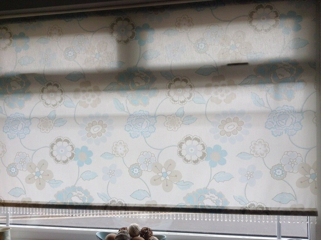 Hilary S Duck Egg Blue And Cream Roller Blind In Bishop Auckland
