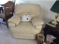 Cream leather reclining chair and 2 seater sofa