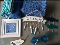 Blue Bathroom Accessories Job Lot £20 Towels Bathmats Tea Light Holders Wall Art