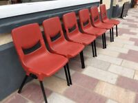 6 x Red Plastic Stacking Chairs