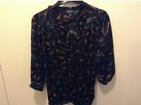 Pheasant Bird Print Top Size S - Size 10 made by Amphora