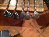 FOR SALE. SET OF 5 TAYLOR MADE R7 FAIRWAY WOODS AND RESCUE CLUBS £135 OVNO