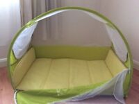 Koodi travel cot in lime green -perfect condition - free highchair if you can collect