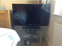 """37"""" LG TV, Glass TV Stand, Philips DVD Player , £140, cash buyer, buyer collect."""