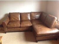 Stunning Laura Ashley Baslow Brown Leather Corner Sofa & Footstool