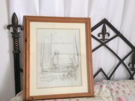 WINNIE THE POOH - TWO PINE FRAMED PENCIL SKETCHES