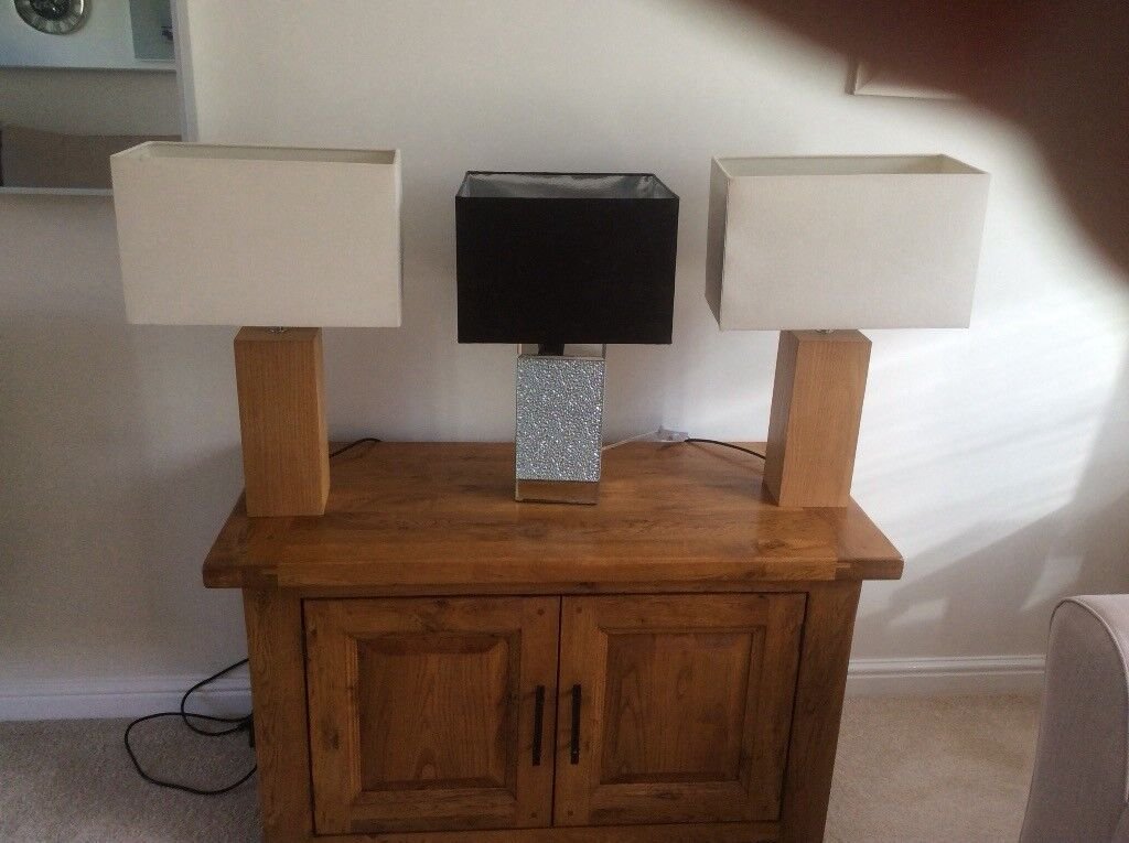 For sale three table lamps very good condition can be sold separately £5.00 cream £6.00 black