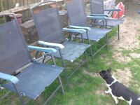Set of 4 foldable mesh and metal garden chairs, OK for spares/extras
