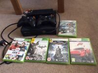 Xbox 360 console 2 controllers and 5 games
