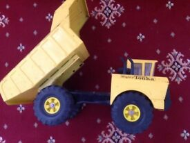 Tonka crane and dumper truck.