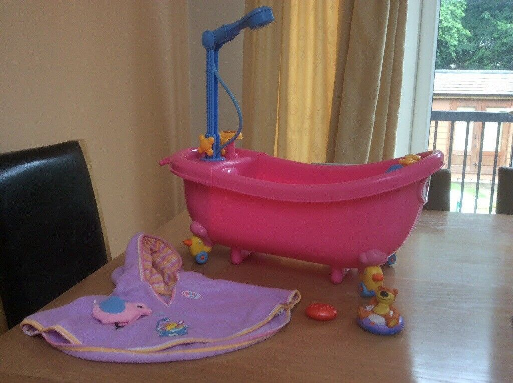 Baby born pink toy bath with working shower and accessories | in ...