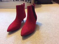 LADIES SIZE 4. Red ankle boots