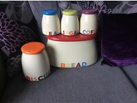 Ceramic bread in, biscuit jar and cannisters