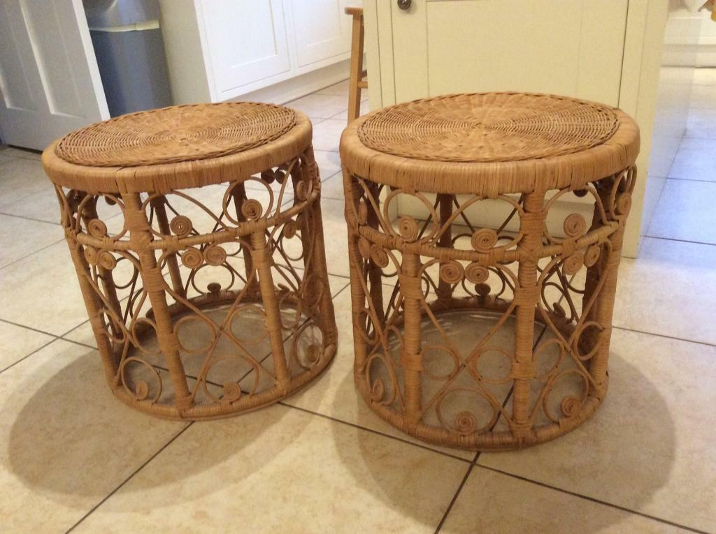 Pair Rattan bedside tables/stools