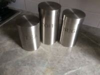 Brushed stainless steel. Tea, coffee, Sugar canisters