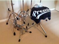 Premier and Pearl drum hardware snare cymbal hi hat stands stool and cases