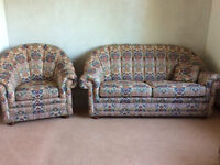 Wade 'Coniston' 2 Seater Fabric Settee And Large Armchair - Smoke / Pet Free Home