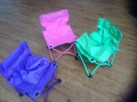 3 foldaway kids chairs in blue green and pink colours