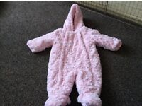 Girls pink aged 3 to 6 months all in one coat