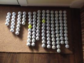 Variety of mixed golf balls