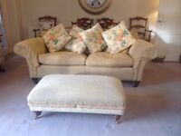 Duresta yellow 3 seater sofa and footstool