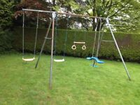 TP swing set with additional swing trapeze bar and swing boat, galvanised heavy duty construction