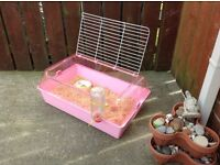 Pink indoor cage , rabbit , Guinea pig
