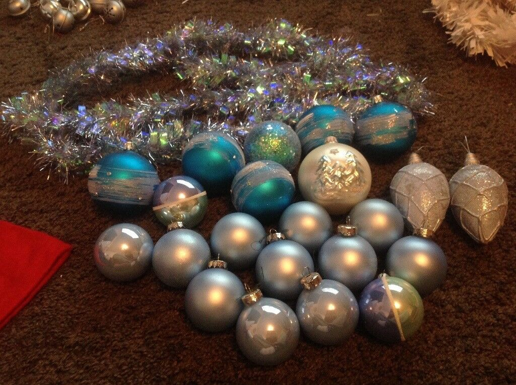 Blue Christmas decorations baulbles