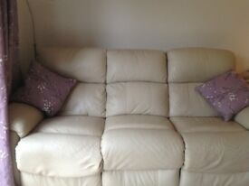 Cream Leather mechanical reclining 3 seater sofa and armchair .