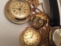 3 Gold Pendant Watches c/w neck chains.