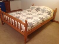 Pine double bed frame for sale
