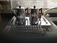 SONA 5 piece stainless steel tea set and tray