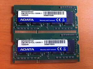 Used ADATA Laptop DDR3l 1600  (PC3L 12800S) Sodimm (4G*2) Total 8GB Ram Memory