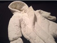 6-9mths Mothercare white star patterned Snow suit with gloves & ears