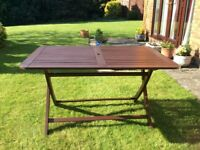 "wooden fold up garden table 4'6"" x 3'buyer to collect tel 01372 276380"