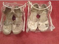 2 pairs of girls flower girl shoes size 12