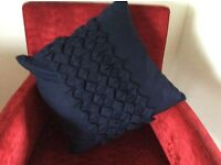 John Lewis navy blue wool cushion brand new