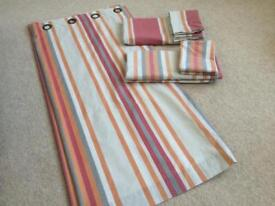 Rustic Stripe Eyelet Curtains and matching double duvet covers