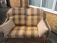 Wicker Sofa Brown for Conservatory or Garden
