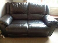 Very dark brown/black 3 seater and 2 seTer recliner sofas