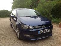 VW Polo Bluemotion 1.2 3dr Diesel, 61 plate, 70,000 miles, 72mpg+ VGC FSH, Blue, £0 Road Tax!