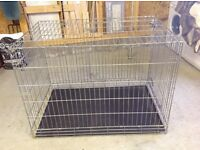 Dog crate (collapsible) with two doors