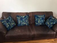 3 + 2 seater brown leather sofa suite