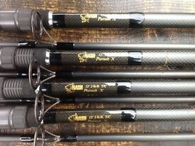 4 X NASH PURSUIT 12FT CARP / PIKE FISHING RODS 2 X 3lb TC 2 X 2.75 TC WITH BAGS COST £150 EACH