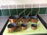 Vintage French copper saucepans set of 6