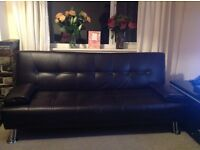 Chocolate brown faux leather sofa bed